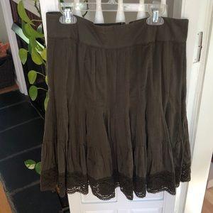 Green Anthropologie cacky summer skirt